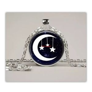 Moon and Stars Jewelry Glass Pendant Art  Necklace